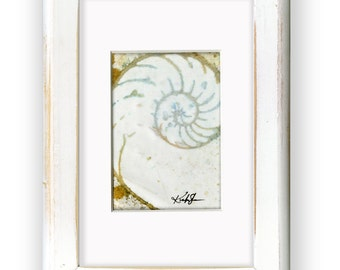 """Original Ocean Seashell, Painting in Shabby Chic, Cottage Style Frame, """"Nautilus Shell 1010"""" by Kathy Morton Stanion EBSQ"""