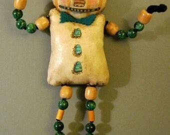 Halloween pumpkin art doll, creepy, Nightmare art, wall art, shelf doll,