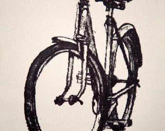 Bicycle Art Print - Classic Ladies Town Bike - Graphite on Butter