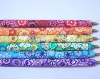YOUR CHOICE COLOR Handmade Millefiori Floral Polymer Clay Covered Ball Point Pen