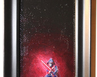 THE FORCE AWAKENS Mini Kylo Ren Painting framed by Mike Boston