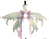 Iynx No.8 - Medium Cellophane Fairy Wings in Silver and Purple