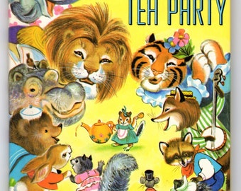 The Animal's Tea Party Rand McNally Junior Elf Book 1965 by Helen Wing Illustrated by Irma Wilde