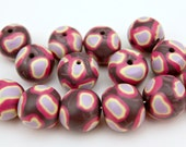 Set of Handmade Artisan Polymer Clay Beads in Eggplant, Fuchsia, Lavender and Pastel Lemon