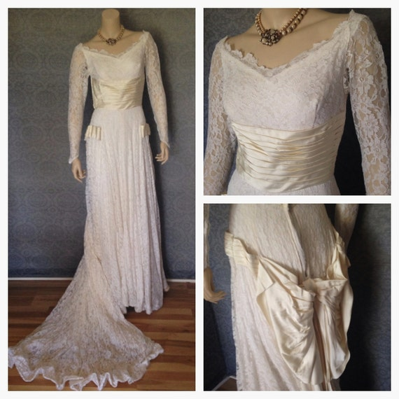 1940s, 1950s Cahill Ltd. Couture Wedding Gown, Bridal Dress....Fabulous, Train, Excellent Condition, Petite Small