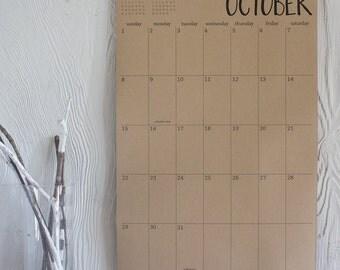 2017 large kraft wall calendar