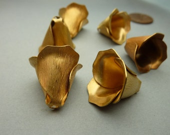 4 Large Rose Bead Cap or Rivet Findings in Brass