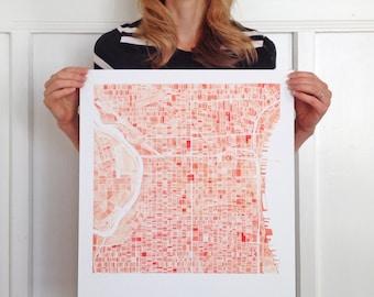 PHILADELPHIA Pennsylvania City Map Block Plan Watercolor Print (Art Print)