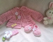 Crocheted girl little Cardigan, headband and shoes set, different colors available, oh so cute!!