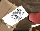 0036 Butterfly Handwriting Script Custom Rubber Stamp Wedding Save the Date Return Address Choose Style Red Rubber
