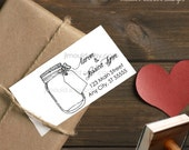 0401 NEW! JLMould Mason Jar address stamp with a curly calligraphy Custom Rubber Stamp Return Address DIY Wedding SaveTheDate Invitiations