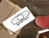 0406 JLMould Get Well Soon Like Custom Rubber Stamp Stamp Students Papers Customize with Name and Text - You choose Style