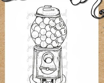 Gumball Machine Digital Rubber Stamp - lots of candy and sweets
