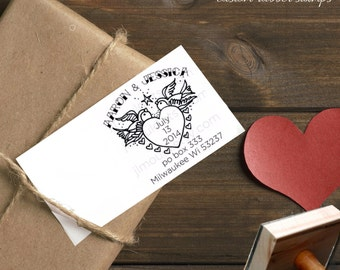 0041 JLMould Save the Date DIY Wedding Personalized Custom Stamp Tattoo Heart Custom Rubber Stamper