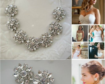 Wedding Jewelry Set, Bridal Necklace earring set, Crystal statement necklace, matching earrings, silver Bridal jewelry earring necklace set
