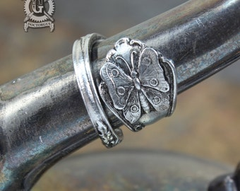 Butterfly Spoon Ring - Adjustable - Handmade by Doctorgus - Beautiful Antique Inspired Pewter Design - Art Nouveau Style Boho Insect Jewelry