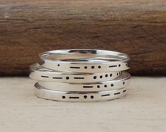Personalized Morse Code Ring - Hand Stamped Initial Ring - Monogram Stacking Ring - Sterling Silver Letter Ring - Stackable Name Ring