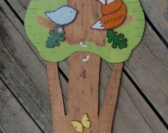 WOODLAND FAMILY TREE Wood Growth Chart - Custom Original Hand Painted Keepsake 6' High - Boy & Girl