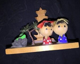 Vintage OMC Japan Miniature Wood Doll Display