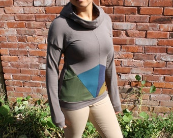 ready to ship / up and down triangles hoodie / by replicca / bamboo french terry / size medium
