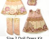 KIT Size 2: Doll Dress Clothing Kit Garden Party pattern for small dolls