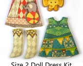 KIT Size 2: Doll Dress Clothing Kit Circus pattern for small dolls