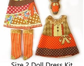 KIT Size 2: Doll Dress Clothing Kit Autumn Costumes pattern for small dolls