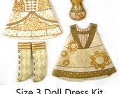 Pukifee Dress KIT Size 3: Doll Dress Clothing Kit Industrial Chic pattern for small dolls