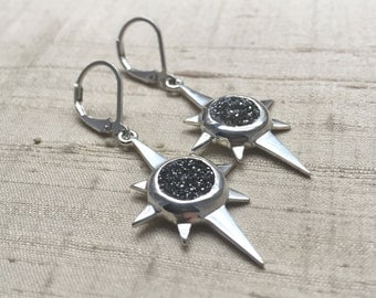 North Star Earrings- Druzy Quartz and Sterling Silver