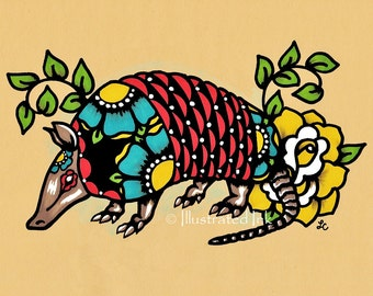 Old School Tattoo ARMADILLO Mexican Folk Art Texas Print 5 x 7, 8 x 10 or 11 x 14