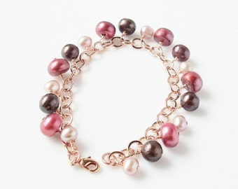 simple multi-color brown, raspberry pink and mauve pearl dangle bracelet - Made to order in rose gold or yellow gold, June birthstone