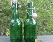 Two Vintage Glass Beer Bottles - Grolsch of Holland