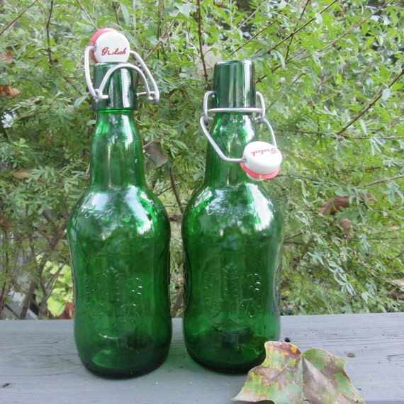 Two Vintage Glass Beer Bottles - Grolsch of Holland