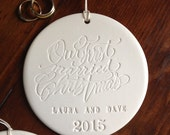 Our FIRST MARRIED CHRISTMAS custom Christmas Ornament newlyweds  by Paloma's Nest,  personalized calligraphy custom wedding, engagement gift