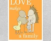 Pépinière Art, Adoption cadeau, cadeau bébé, pépinière animaux Art, Art Orange pépinière, pépinière Decor, pépinière imprimer, amour fait une famille, Baby Art