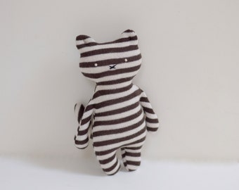 Stuffed striped Cat doll soft fabric cat doll upcycled brown white stripes cotton sweater eco toy toddler toy bubynoa CAT & BUNNY