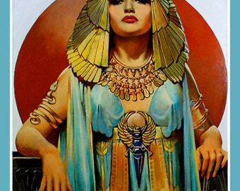 Art Print on SILK Queen of Egypt CLEOPATRA vibrant shades Turquoise Gold Rust - Fiber Arts Collage Crazy Quilt Silky Art to Wear Home Decor