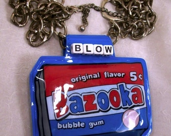 Sale Blow Me Vintage Inspired Unisex Kitsch Art Necklace Novelty Assemblage Mixed Media Found Object Upcycled Repurposed Free Shipping