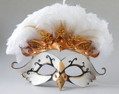 Swan Princess Leather Mask and Tiara with Venetian Lace, Filigree and Feathers