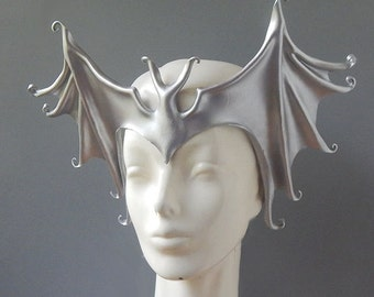 Leather Bat Headpiece in Silver - Batwing Headdress - Costume Crown for Halloween or Masquerade