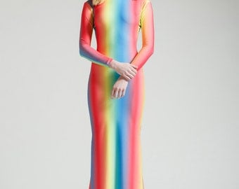 Ombre Rainbow Long Sleeved Swan Necked Maxi Gown with Train