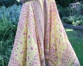 Yellow nylon/poly tube top scarf dress small hippie gypsy festival spaghetti straps handkerchief scarf hemline