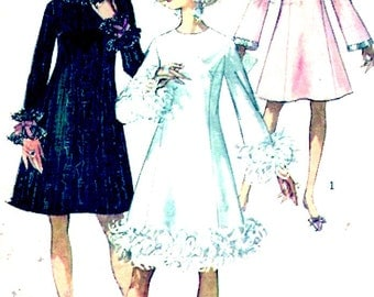 60s Mod dress Bell shaped sleeves retro Hipster Bridesmaid Vintage sewing pattern Simplicity 7914 wedding party Bust 36 UNCUT