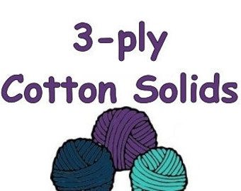 "SOLID color cotton ""3-ply""  light fingering weight to coordinate with Bre-Aly Gradients"
