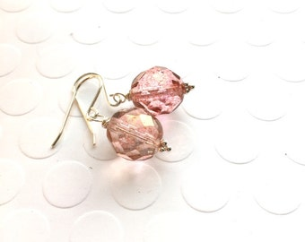 Rose Pink Earrings, Romantic Earrings, Beach Wedding, Pastel Earrings, Dangle Earrings, Vintage Inspired Earrings - Wild Rose