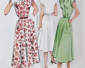 1950s Rockabilly Dress with Scalloped Bodice NcCalls 8861 Vintage 50s Sewing Pattern Size 16 Bust 34