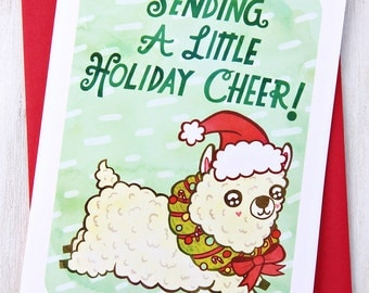 Sending a Little Holiday Cheer Alpaca Card- Funny Christmas Card, Cute Christmas Card, Holiday Greetings, Season's greetings, Alpaca holiday