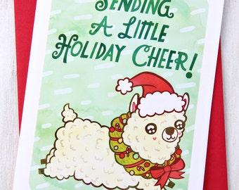 Sending a Little Holiday Cheer Alpaca - Funny Christmas Card Notecard
