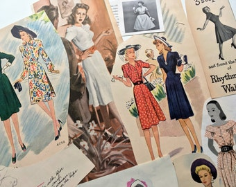Vintage Paper Pack FASHION Ephemera Pack 1940s 1950s DRESSES Mid Century Fashion Advertisements Smash Book Junk Journal Embellishment Supply