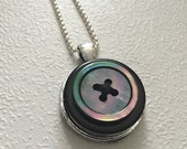 Moonglow & Black  -  Button Necklace